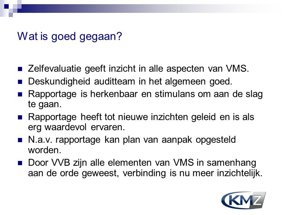 Wat is goed gegaan? Zelfevaluatie geeft inzicht in alle aspecten van VMS. Deskundigheid auditteam in het algemeen goed. Rapportage is herkenbaar en st