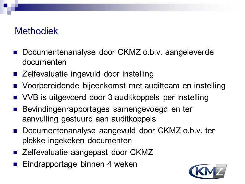 Methodiek Documentenanalyse door CKMZ o.b.v. aangeleverde documenten Zelfevaluatie ingevuld door instelling Voorbereidende bijeenkomst met auditteam e