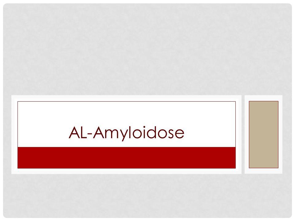 Inleiding Extracellulaire neerslag van eiwitten in abnormale fibrillaire structuren (met name in nieren, hart, zenuwstelsel, gastro-intestinaal, beenmerg) Het amyloïd-precursor eiwit kan bestaan uit monoklonale lichte ketens, meestal lambdaketens(λ) (= AL Amyloïdose ) of andere eiwitten (B2-microglobuline, amyloïd AA, C-reactief proteine etc.).