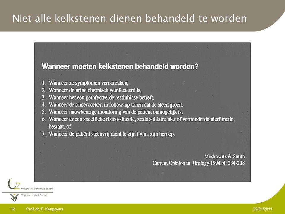 Prof.dr. F. Keuppens 12 22/01/2011 Niet alle kelkstenen dienen behandeld te worden