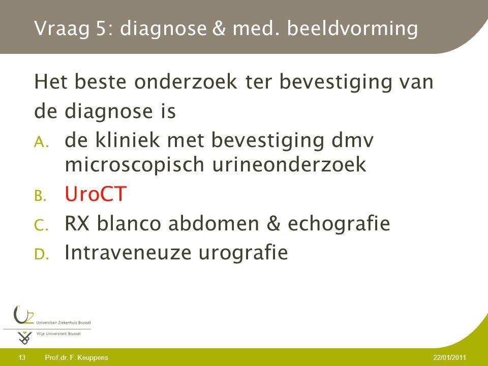 Prof.dr. F. Keuppens 13 22/01/2011 Vraag 5: diagnose & med. beeldvorming Het beste onderzoek ter bevestiging van de diagnose is A. de kliniek met beve