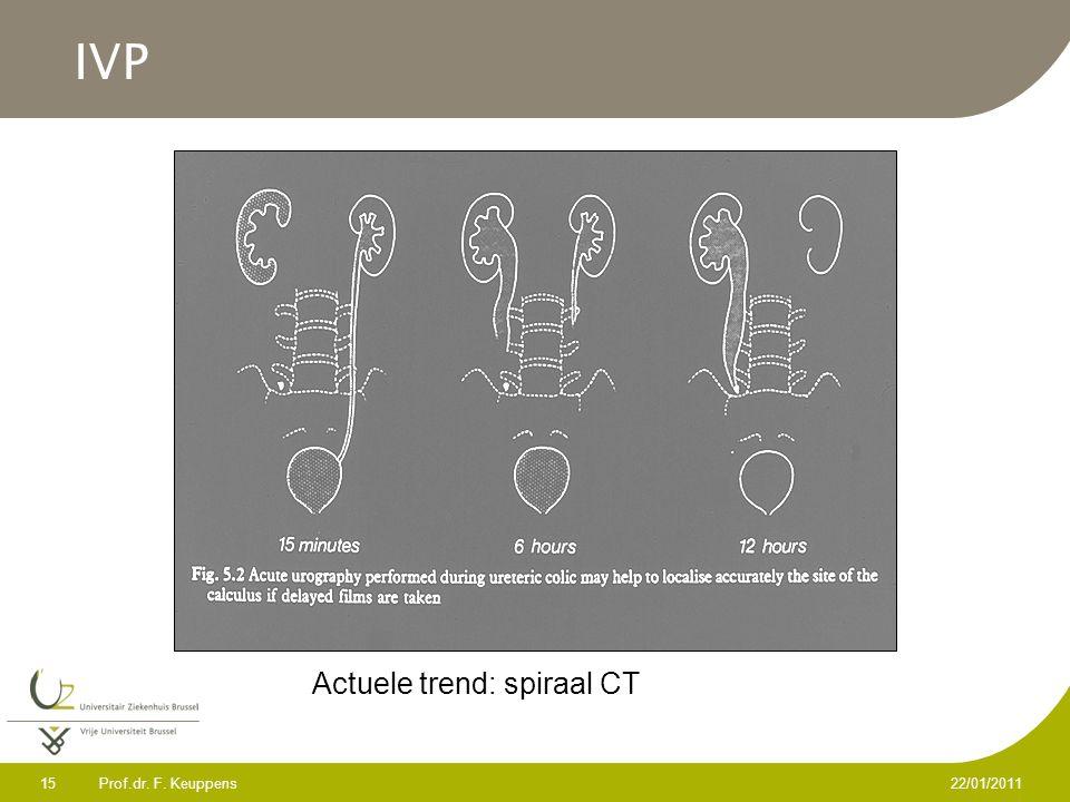 Prof.dr. F. Keuppens 15 22/01/2011 IVP Actuele trend: spiraal CT