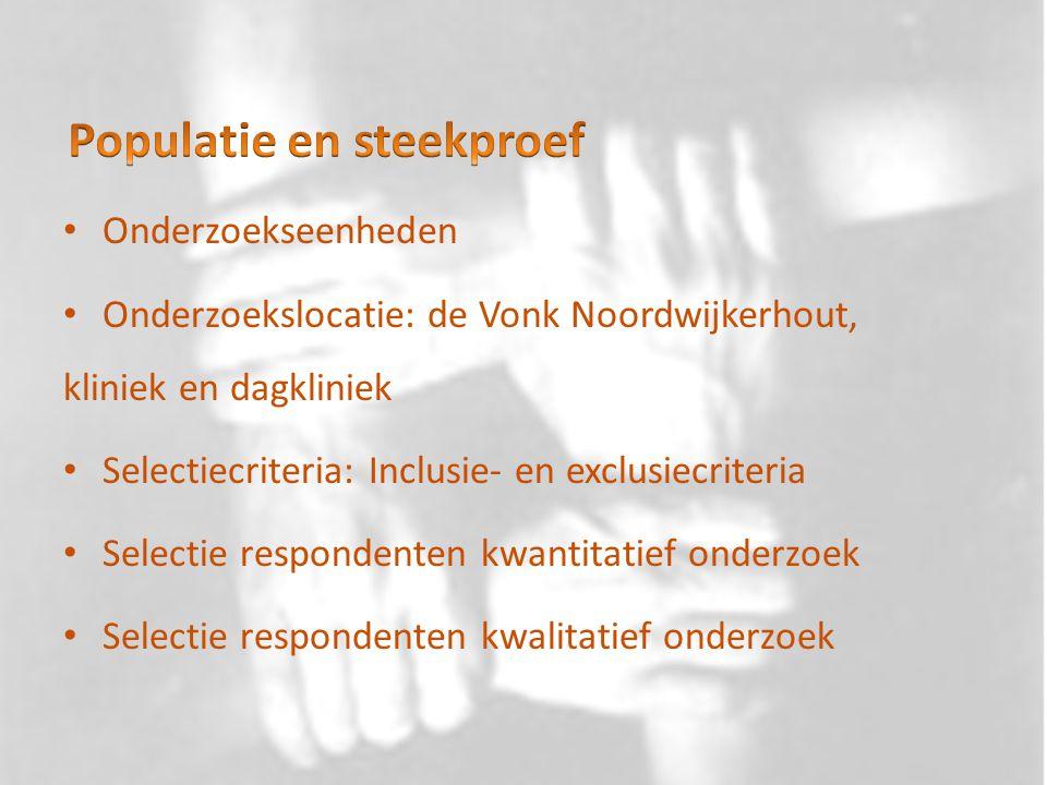 Onderzoekseenheden Onderzoekslocatie: de Vonk Noordwijkerhout, kliniek en dagkliniek Selectiecriteria: Inclusie- en exclusiecriteria Selectie responde