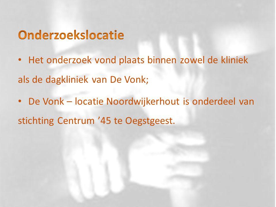 Het onderzoek vond plaats binnen zowel de kliniek als de dagkliniek van De Vonk; De Vonk – locatie Noordwijkerhout is onderdeel van stichting Centrum