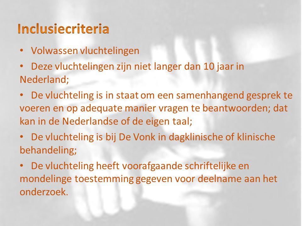 Volwassen vluchtelingen Deze vluchtelingen zijn niet langer dan 10 jaar in Nederland; De vluchteling is in staat om een samenhangend gesprek te voeren