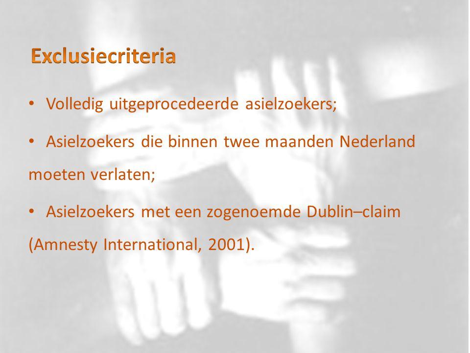 Volledig uitgeprocedeerde asielzoekers; Asielzoekers die binnen twee maanden Nederland moeten verlaten; Asielzoekers met een zogenoemde Dublin–claim (