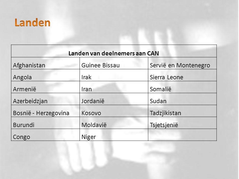 Landen van deelnemers aan CAN AfghanistanGuinee BissauServië en Montenegro AngolaIrakSierra Leone ArmeniëIranSomalië AzerbeidzjanJordaniëSudan Bosnië