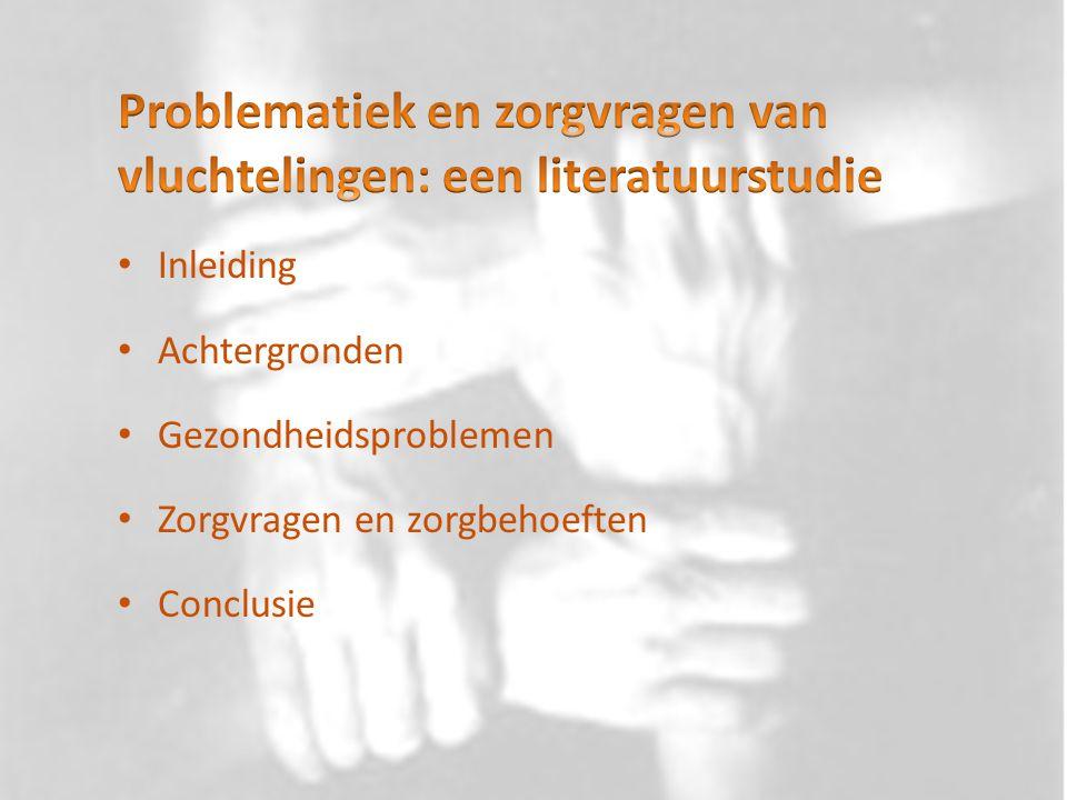 Welke gezondheidsproblemen bij vluchtelingen zijn in de literatuur beschreven.