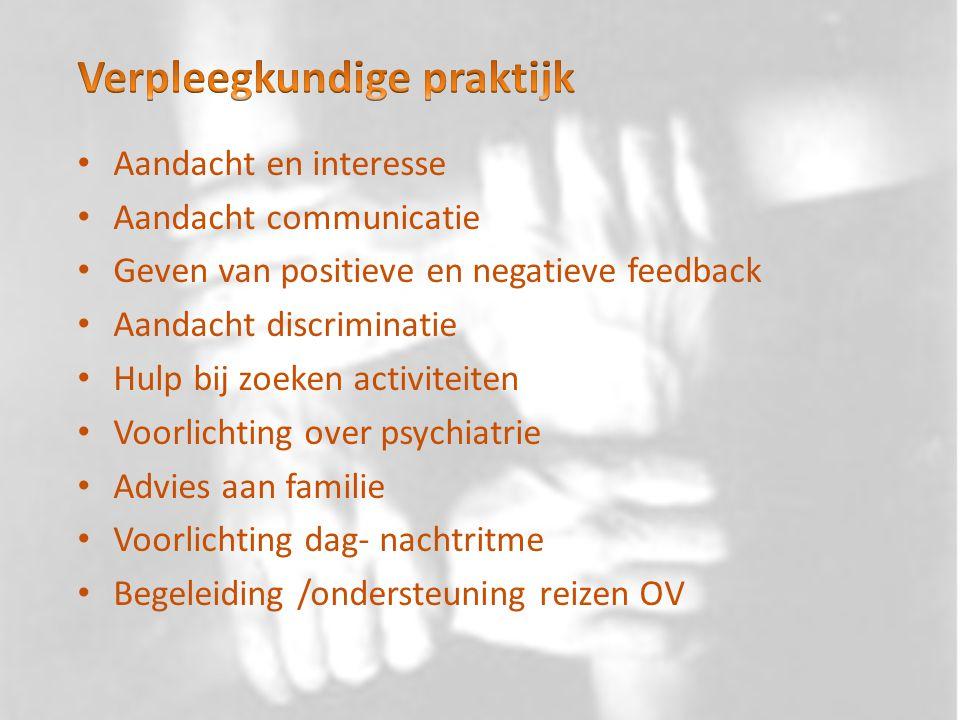 Aandacht en interesse Aandacht communicatie Geven van positieve en negatieve feedback Aandacht discriminatie Hulp bij zoeken activiteiten Voorlichting