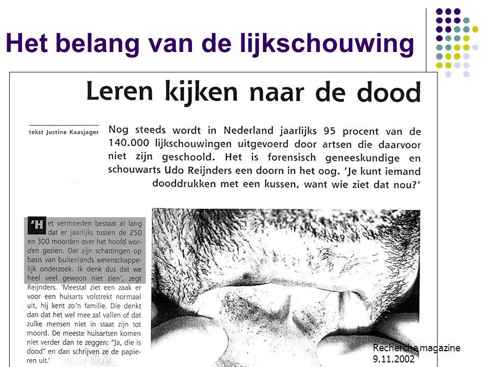 Ipodium AZ Imelda, Bonheiden, 10.11.07 Het belang van de lijkschouwing Recherche magazine 9.11.2002