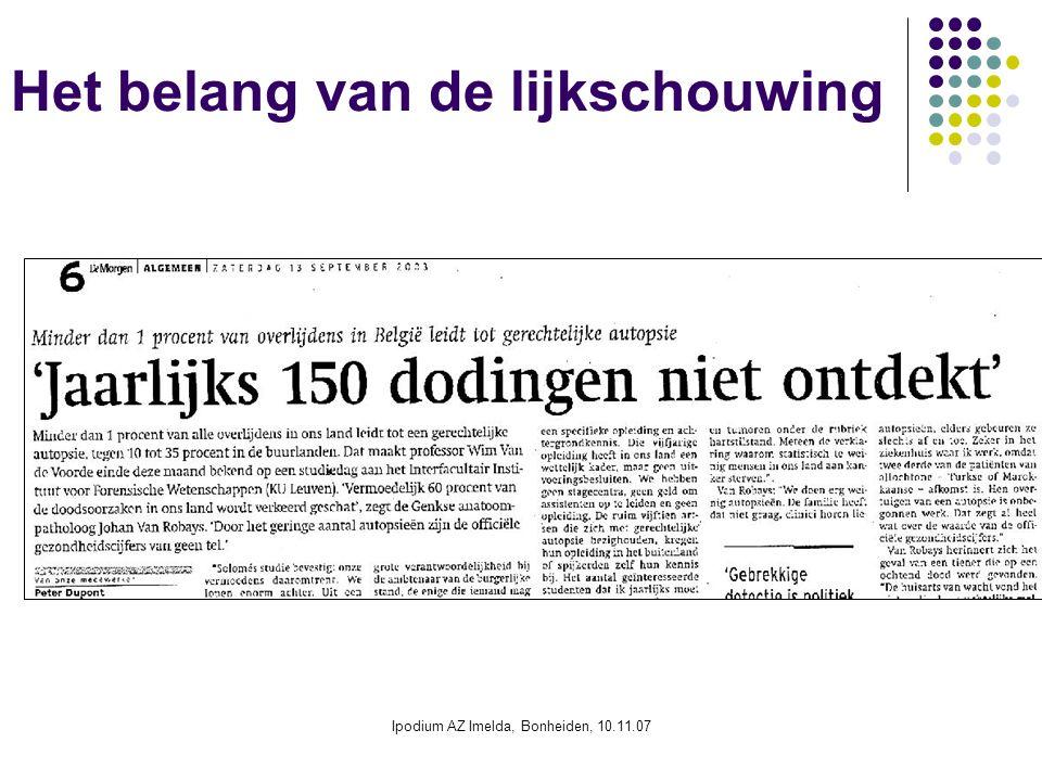 Ipodium AZ Imelda, Bonheiden, 10.11.07 Het belang van de lijkschouwing
