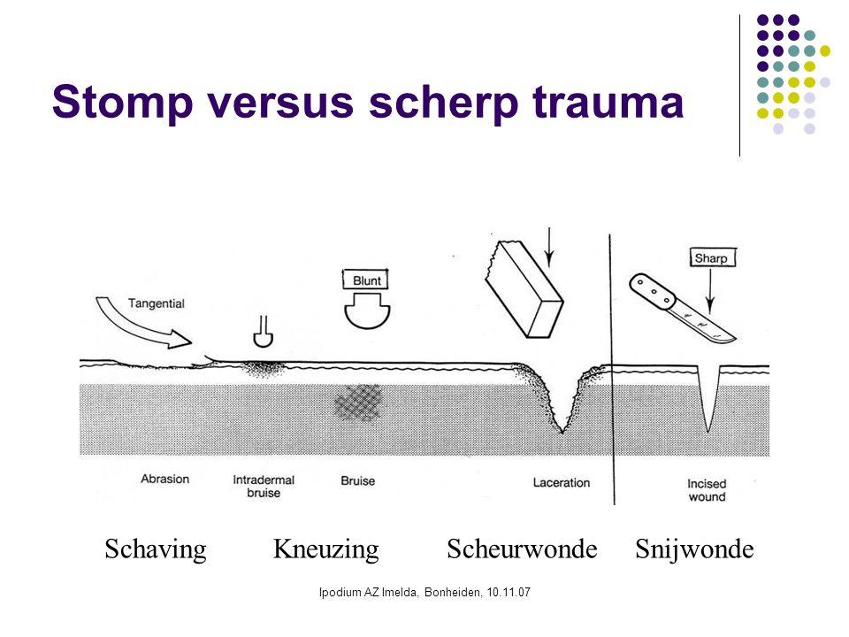 Ipodium AZ Imelda, Bonheiden, 10.11.07 Stomp versus scherp trauma Schaving Kneuzing Scheurwonde Snijwonde