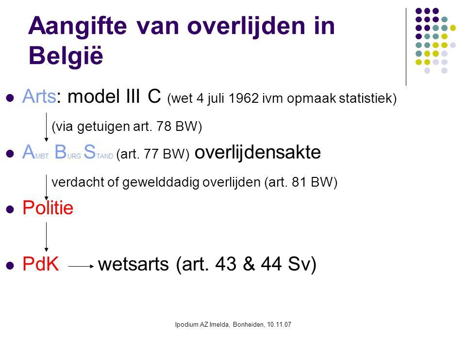 Ipodium AZ Imelda, Bonheiden, 10.11.07 Aangifte van overlijden in België Arts: model III C (wet 4 juli 1962 ivm opmaak statistiek) (via getuigen art.