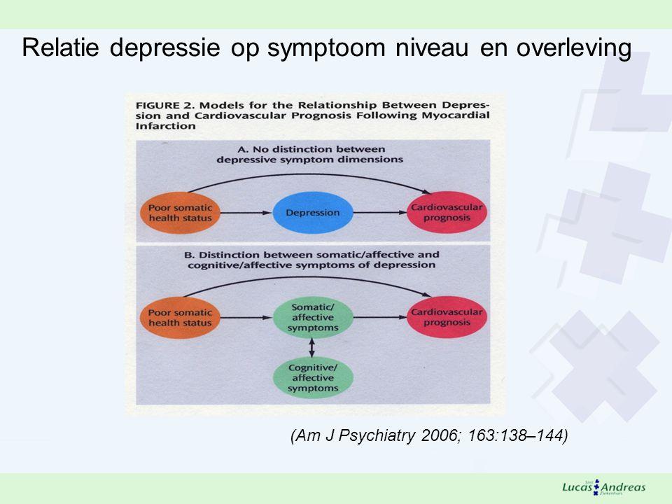 (Am J Psychiatry 2006; 163:138–144) Relatie depressie op symptoom niveau en overleving