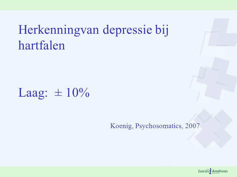 Herkenningvan depressie bij hartfalen Laag: ± 10% Koenig, Psychosomatics, 2007