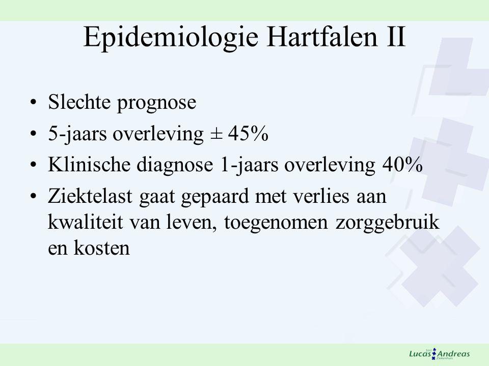 Epidemiologie Hartfalen II Slechte prognose 5-jaars overleving ± 45% Klinische diagnose 1-jaars overleving 40% Ziektelast gaat gepaard met verlies aan kwaliteit van leven, toegenomen zorggebruik en kosten