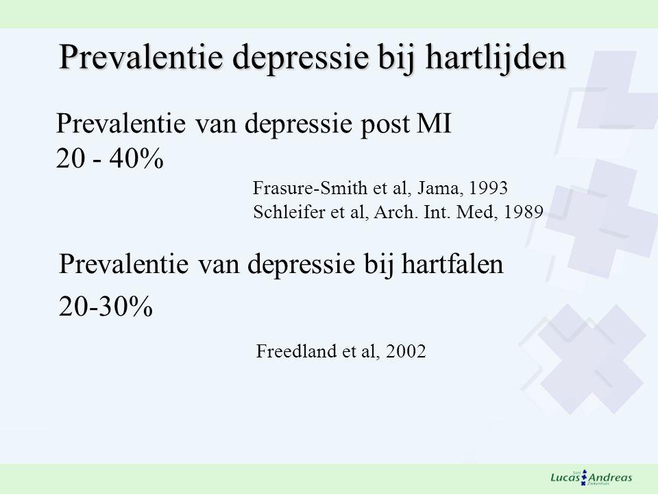 Prevalentie van depressie post MI 20 - 40% Frasure-Smith et al, Jama, 1993 Schleifer et al, Arch.