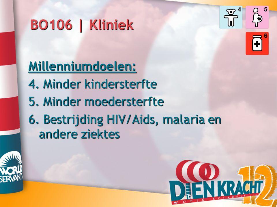 Millenniumdoelen: 4. Minder kindersterfte 5. Minder moedersterfte 6. Bestrijding HIV/Aids, malaria en andere ziektes BO106 | Kliniek