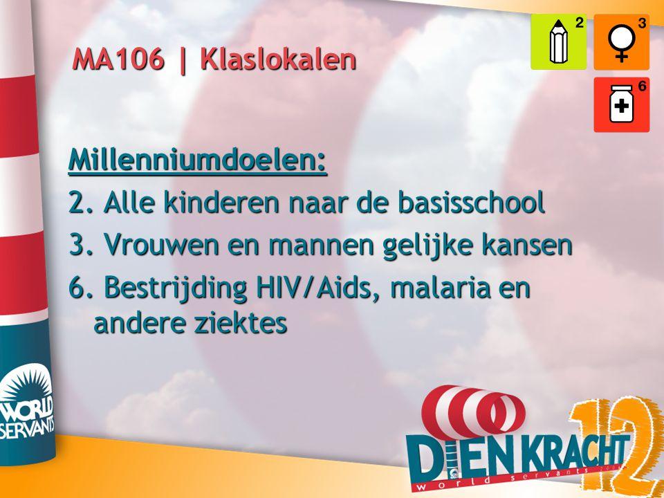 MA106 | Klaslokalen Millenniumdoelen: 2. Alle kinderen naar de basisschool 3. Vrouwen en mannen gelijke kansen 6. Bestrijding HIV/Aids, malaria en and