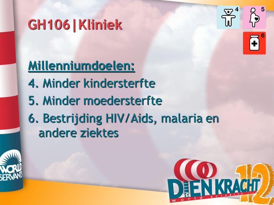 GH106|Kliniek Millenniumdoelen: 4. Minder kindersterfte 5. Minder moedersterfte 6. Bestrijding HIV/Aids, malaria en andere ziektes