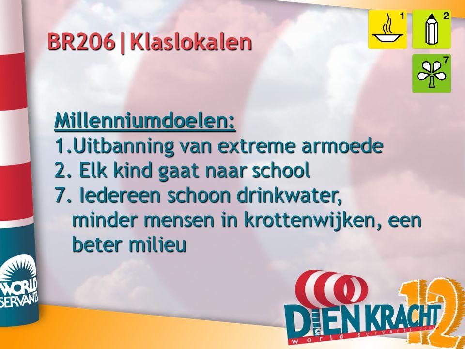 BR206|Klaslokalen Millenniumdoelen: 1.Uitbanning van extreme armoede 2. Elk kind gaat naar school 7. Iedereen schoon drinkwater, minder mensen in krot
