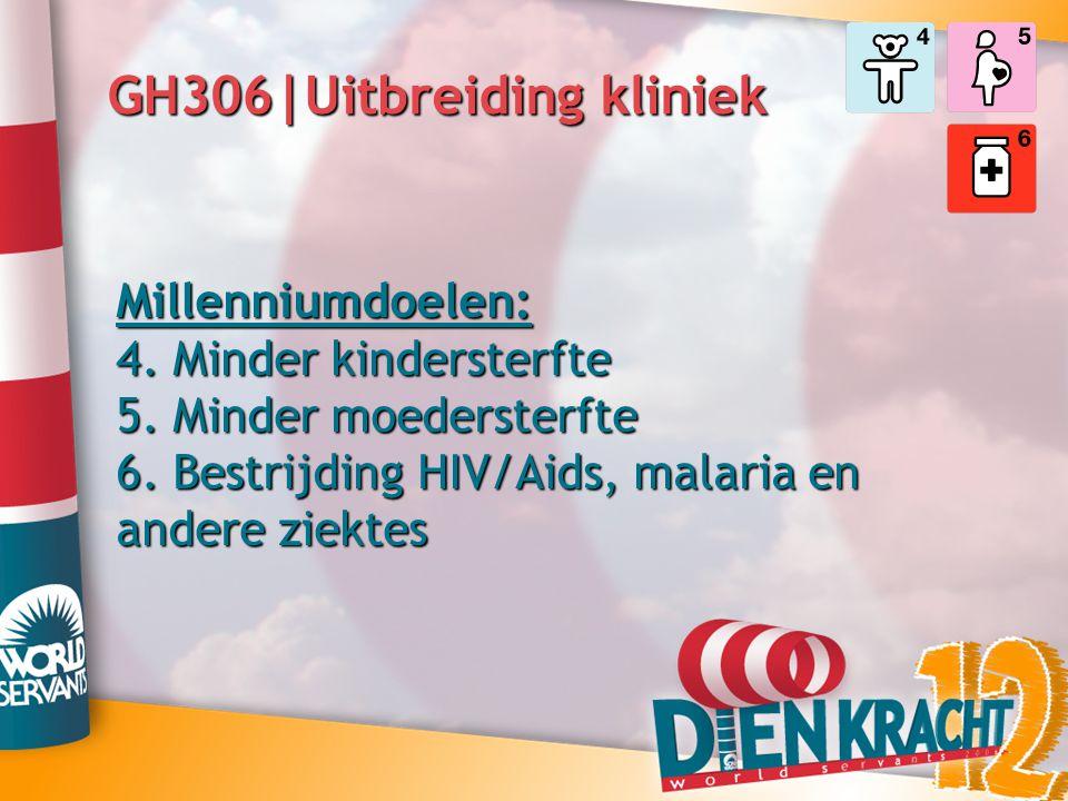 GH306|Uitbreiding kliniek Millenniumdoelen: 4. Minder kindersterfte 5. Minder moedersterfte 6. Bestrijding HIV/Aids, malaria en andere ziektes