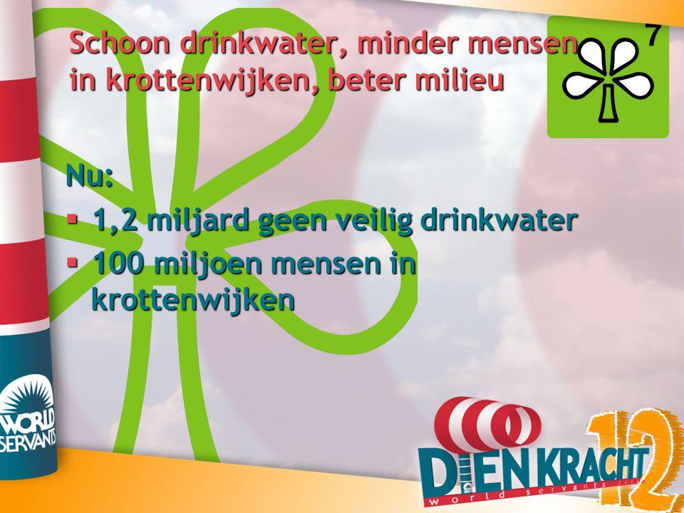 Schoon drinkwater, minder mensen in krottenwijken, beter milieu Nu:  1,2 miljard geen veilig drinkwater  100 miljoen mensen in krottenwijken