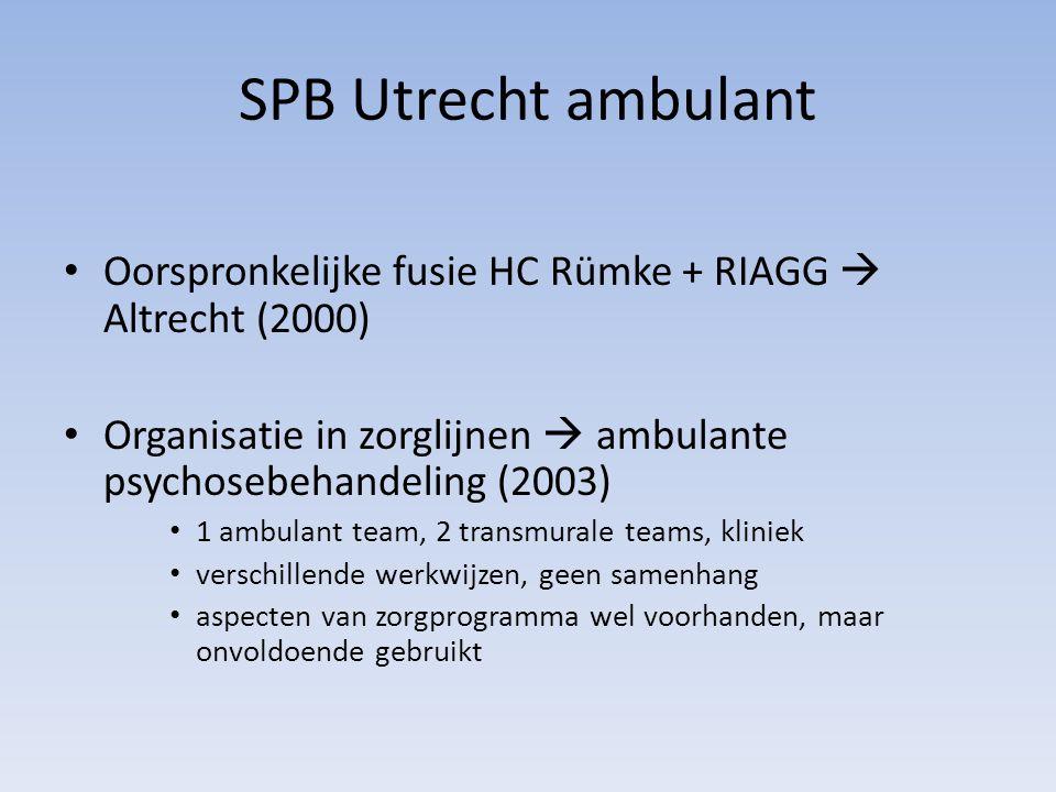 SPB Utrecht ambulant Oorspronkelijke fusie HC Rümke + RIAGG  Altrecht (2000) Organisatie in zorglijnen  ambulante psychosebehandeling (2003) 1 ambul