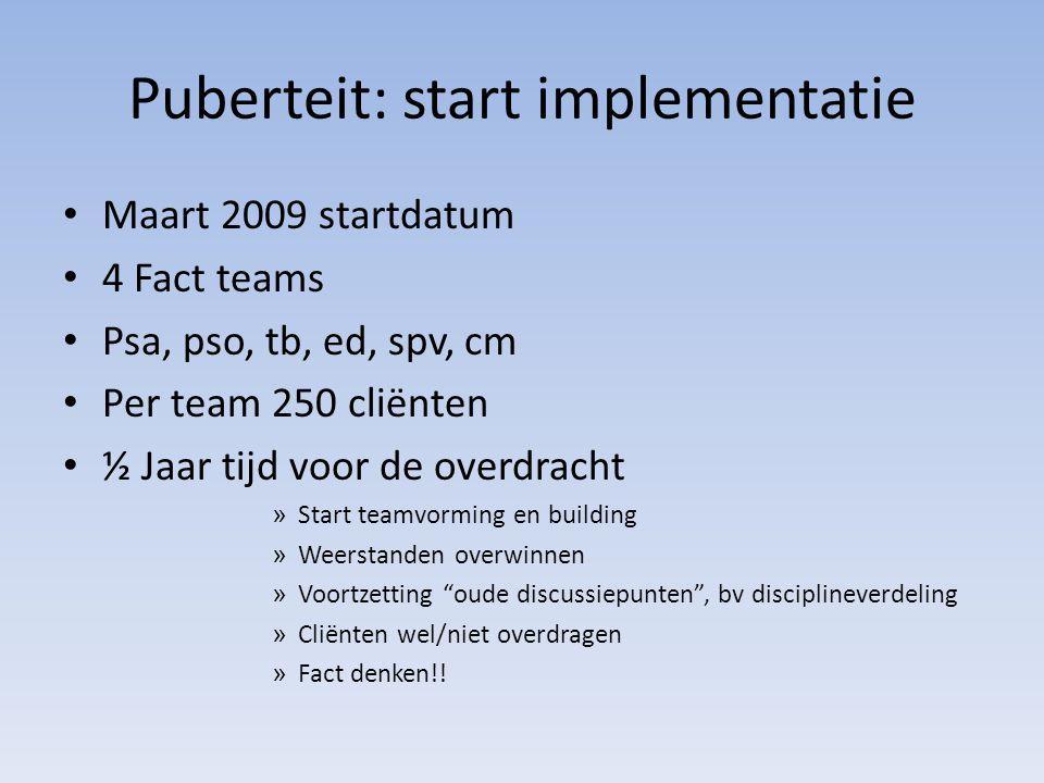Puberteit: start implementatie Maart 2009 startdatum 4 Fact teams Psa, pso, tb, ed, spv, cm Per team 250 cliënten ½ Jaar tijd voor de overdracht » Sta