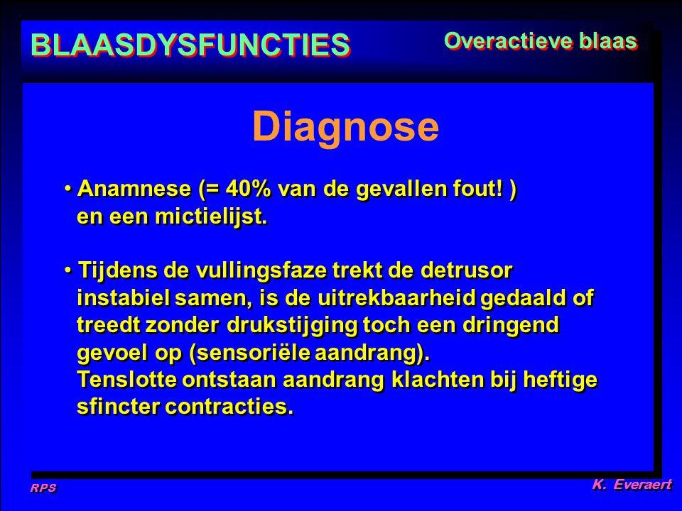 RPS K. Everaert Anamnese (= 40% van de gevallen fout! ) en een mictielijst. Tijdens de vullingsfaze trekt de detrusor instabiel samen, is de uitrekbaa