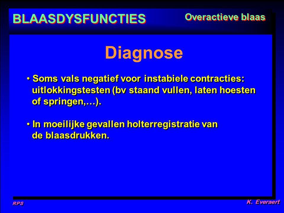 RPS K. Everaert Soms vals negatief voor instabiele contracties: uitlokkingstesten (bv staand vullen, laten hoesten of springen,…). In moeilijke gevall