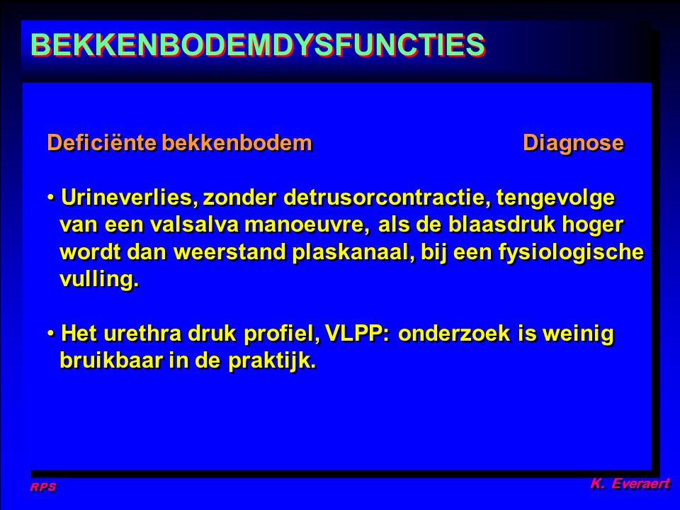 RPS K. Everaert Deficiënte bekkenbodemDiagnose Urineverlies, zonder detrusorcontractie, tengevolge van een valsalva manoeuvre, als de blaasdruk hoger