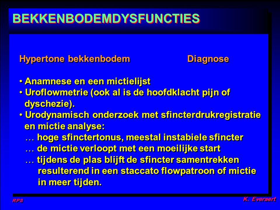 RPS K. Everaert Hypertone bekkenbodemDiagnose Anamnese en een mictielijst Uroflowmetrie (ook al is de hoofdklacht pijn of dyschezie). Urodynamisch ond
