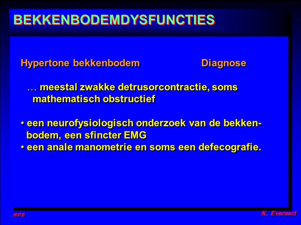 RPS K. Everaert Hypertone bekkenbodemDiagnose … meestal zwakke detrusorcontractie, soms mathematisch obstructief een neurofysiologisch onderzoek van d