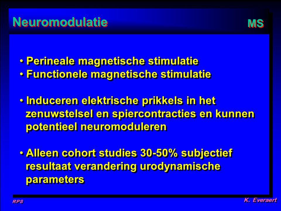 RPS K. Everaert Neuromodulatie MS Perineale magnetische stimulatie Functionele magnetische stimulatie Induceren elektrische prikkels in het zenuwstels