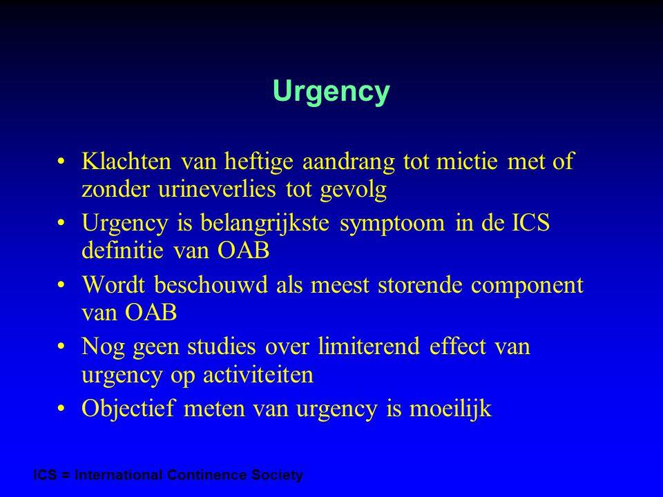 Urgency Klachten van heftige aandrang tot mictie met of zonder urineverlies tot gevolg Urgency is belangrijkste symptoom in de ICS definitie van OAB W