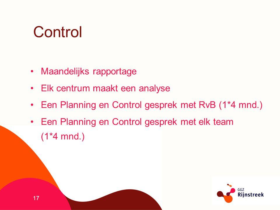 17 Control Maandelijks rapportage Elk centrum maakt een analyse Een Planning en Control gesprek met RvB (1*4 mnd.) Een Planning en Control gesprek met