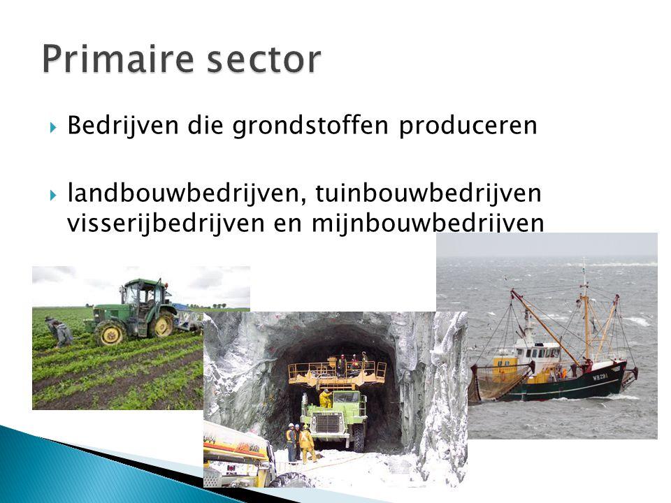  Bedrijven die grondstoffen produceren  landbouwbedrijven, tuinbouwbedrijven visserijbedrijven en mijnbouwbedrijven
