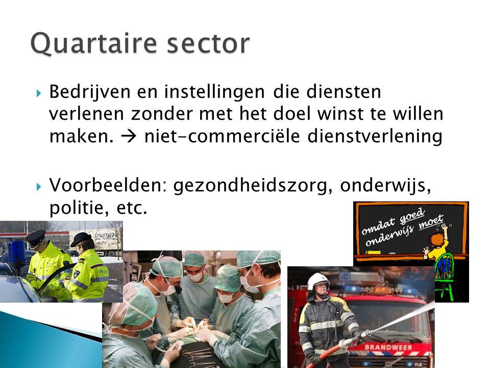  Bedrijven en instellingen die diensten verlenen zonder met het doel winst te willen maken.  niet-commerciële dienstverlening  Voorbeelden: gezondh