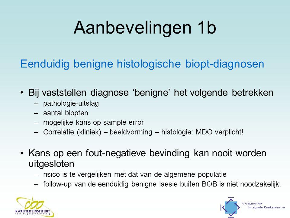 Aanbevelingen 1b Eenduidig benigne histologische biopt-diagnosen Bij vaststellen diagnose 'benigne' het volgende betrekken –pathologie-uitslag –aantal