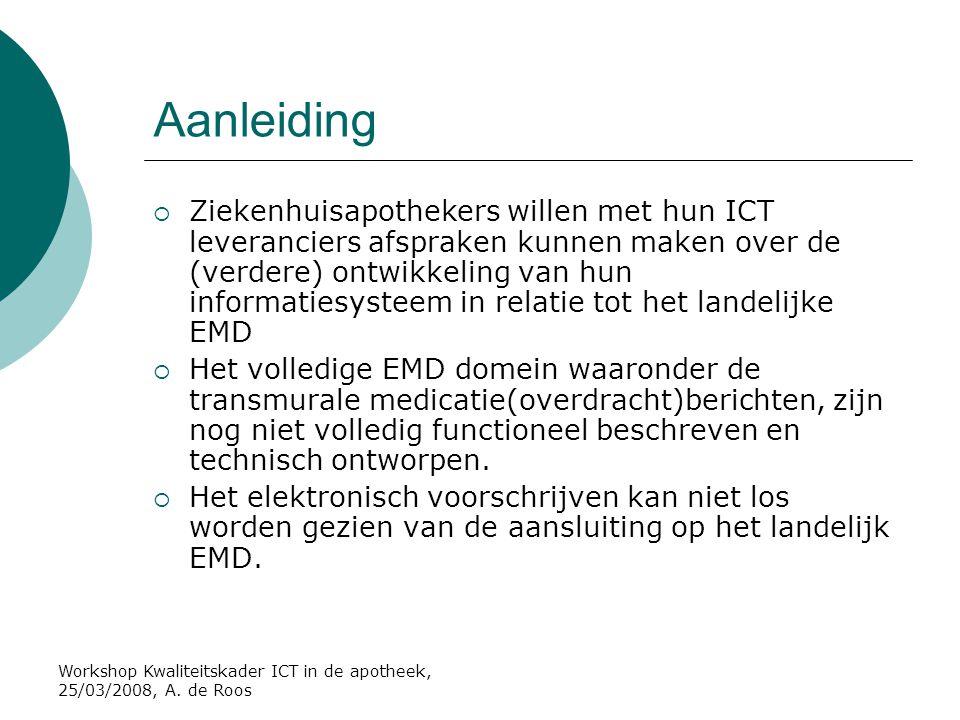 Workshop Kwaliteitskader ICT in de apotheek, 25/03/2008, A. de Roos Aanleiding  Ziekenhuisapothekers willen met hun ICT leveranciers afspraken kunnen