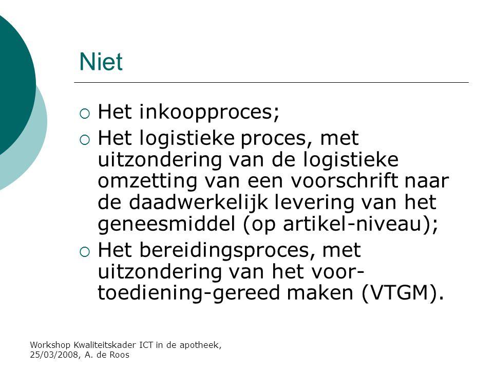 Workshop Kwaliteitskader ICT in de apotheek, 25/03/2008, A. de Roos Niet  Het inkoopproces;  Het logistieke proces, met uitzondering van de logistie