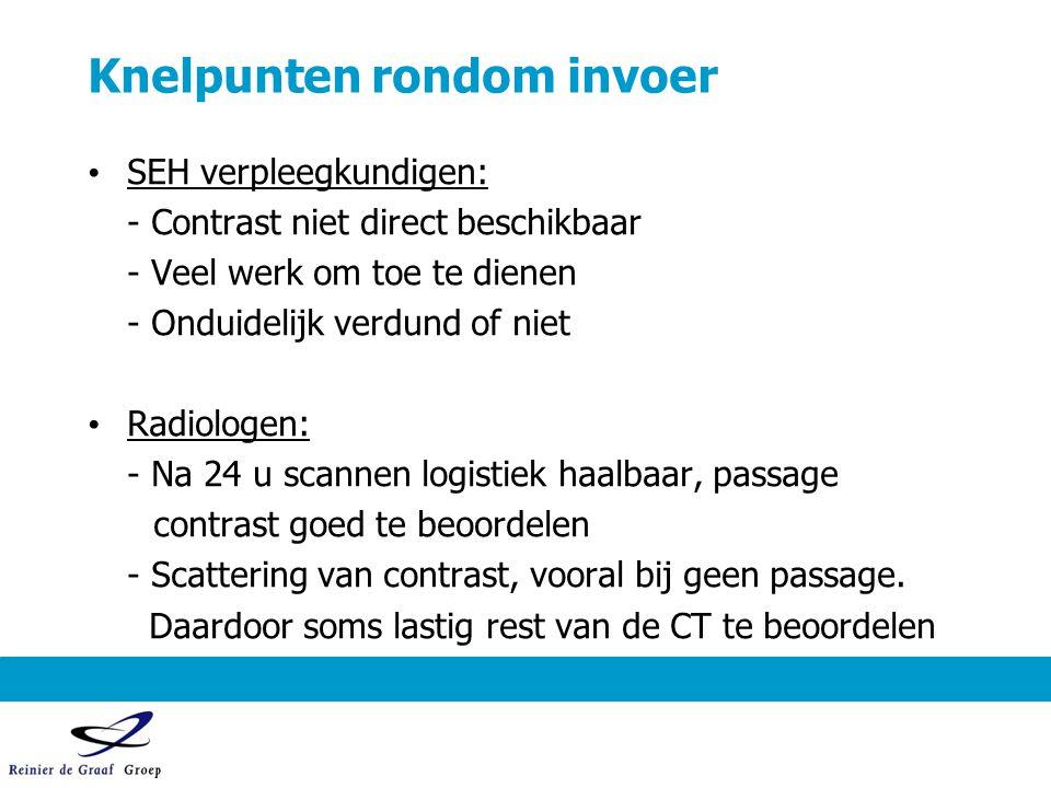 Knelpunten rondom invoer SEH verpleegkundigen: - Contrast niet direct beschikbaar - Veel werk om toe te dienen - Onduidelijk verdund of niet Radiologe