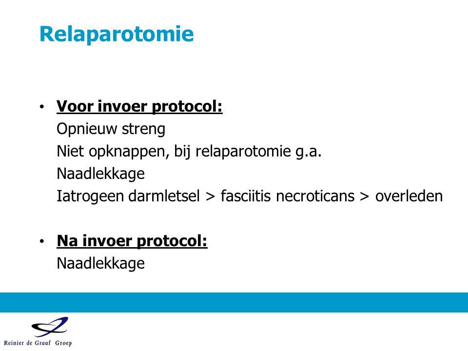 Relaparotomie Voor invoer protocol: Opnieuw streng Niet opknappen, bij relaparotomie g.a. Naadlekkage Iatrogeen darmletsel > fasciitis necroticans > o