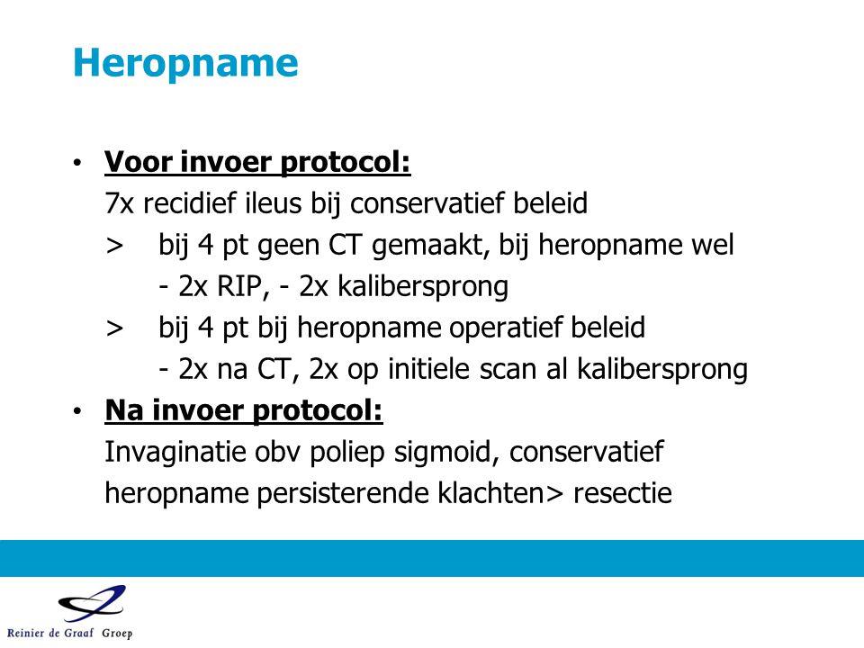 Heropname Voor invoer protocol: 7x recidief ileus bij conservatief beleid >bij 4 pt geen CT gemaakt, bij heropname wel - 2x RIP, - 2x kalibersprong >b