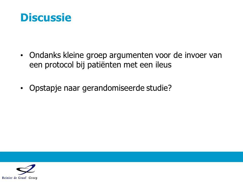Discussie Ondanks kleine groep argumenten voor de invoer van een protocol bij patiënten met een ileus Opstapje naar gerandomiseerde studie?