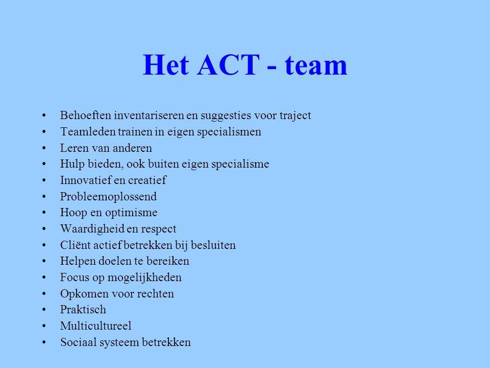 Het ACT - team Behoeften inventariseren en suggesties voor traject Teamleden trainen in eigen specialismen Leren van anderen Hulp bieden, ook buiten e