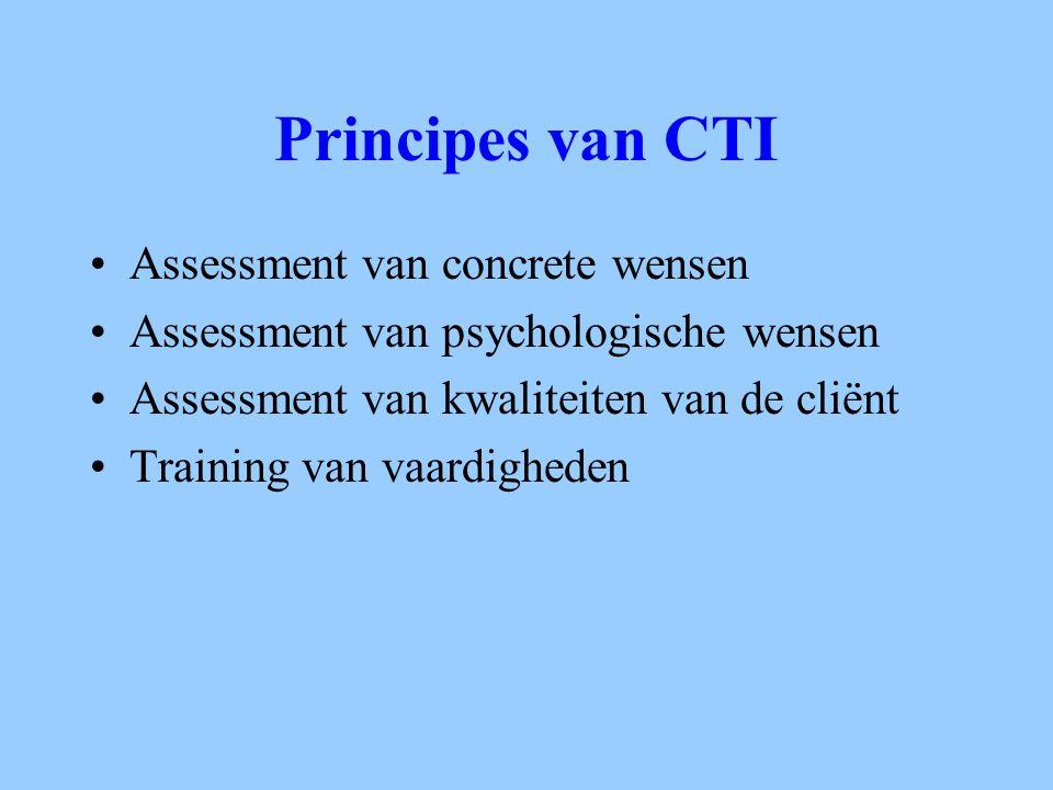 Principes van CTI Assessment van concrete wensen Assessment van psychologische wensen Assessment van kwaliteiten van de cliënt Training van vaardighed