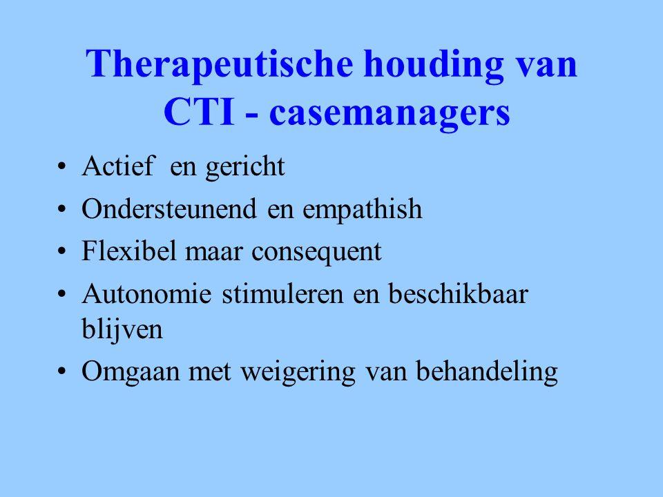 Therapeutische houding van CTI - casemanagers Actief en gericht Ondersteunend en empathish Flexibel maar consequent Autonomie stimuleren en beschikbaa