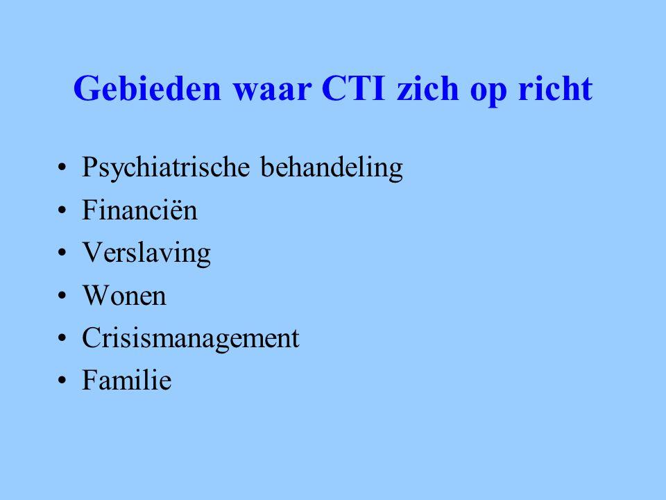 Gebieden waar CTI zich op richt Psychiatrische behandeling Financiën Verslaving Wonen Crisismanagement Familie
